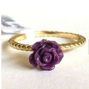 Jewelry - Gold Rose Flower Cocktail Ring Size 9 10 11 Purple